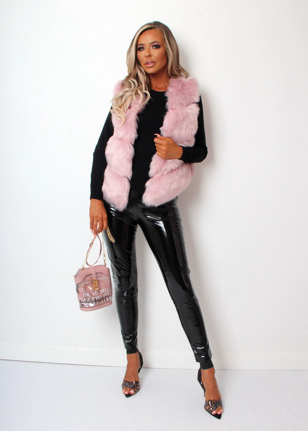 Faux Fur Gilet - Blush