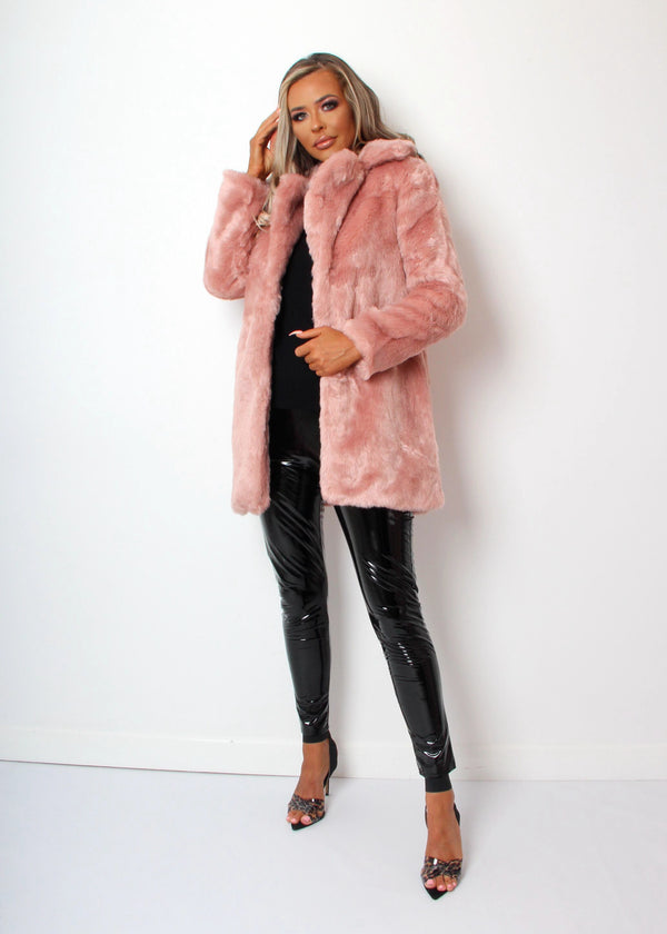 Faux Fur Coat - Blush