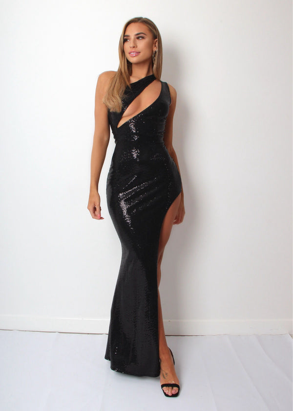 Beautiful Illusion Sequin Dress - Black
