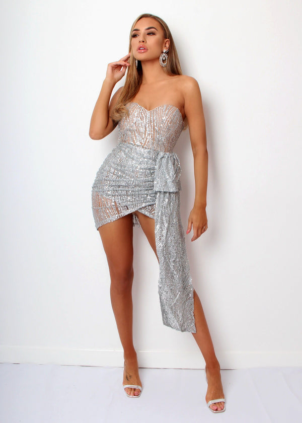 Lavish Me Glitter Mesh Dress - Silver