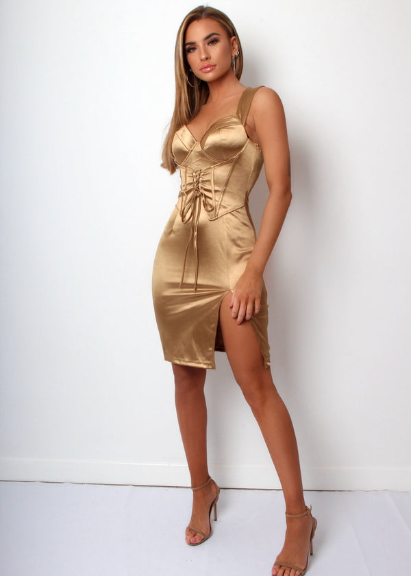 Lace Me Up Satin Dress - Gold