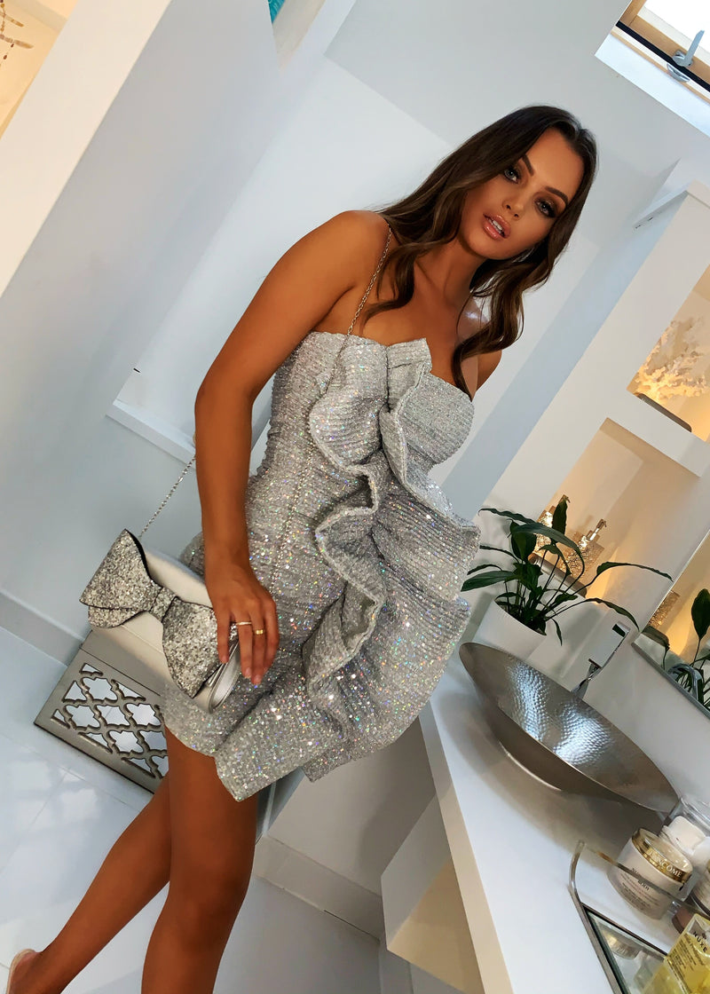 Sweet And Sassy Ruffle Sequin Dress - Silver