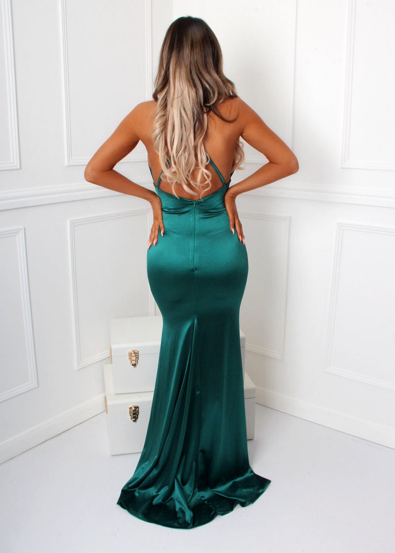 'Live It Up' Satin Gown - Emerald Green