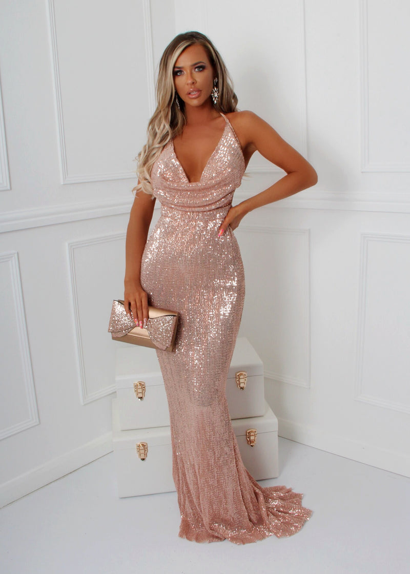 'See Me Shine' Cowl Neck Sequin Gown - Rose Gold