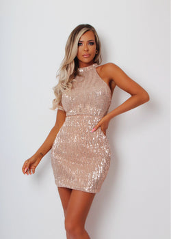 Luxe Touch High Neck Sequin Dress - Rose Gold