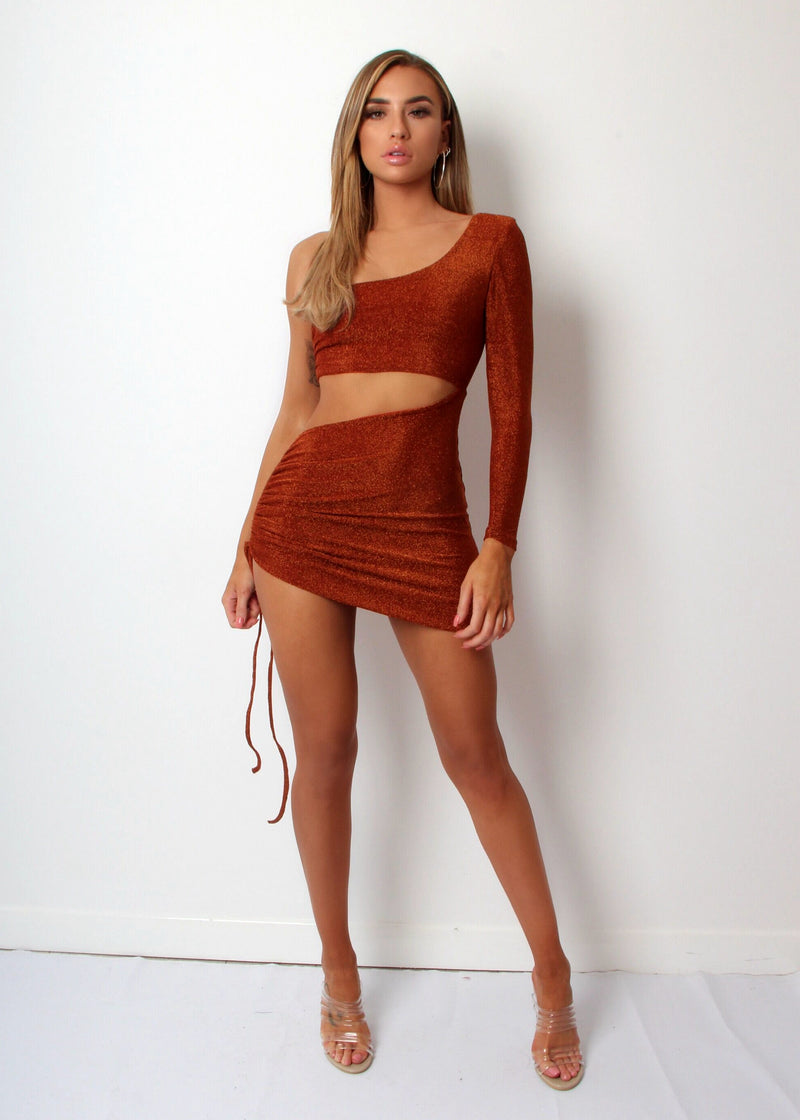 Make the Cut Lurex One Shoulder Dress - Burnt Orange