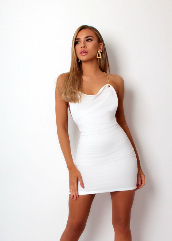 Tonights The Night Bodycon Chain Detail Dress - White