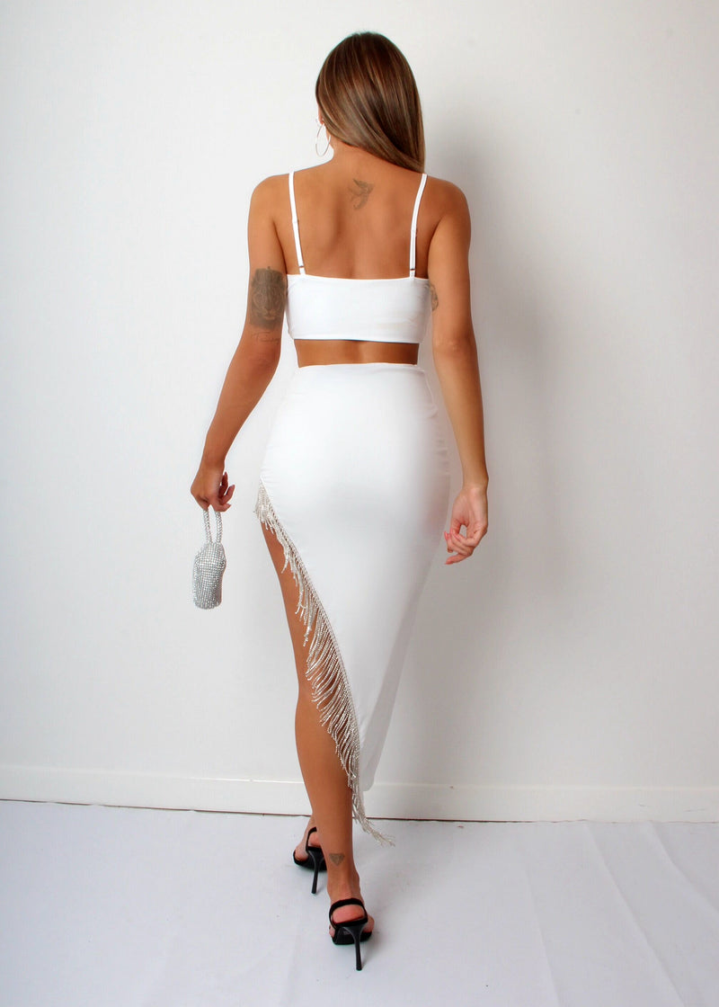 Love Me Better Diamante Trim Two Piece - White