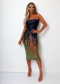 Sipping Champagne Ombre Sequin Dress