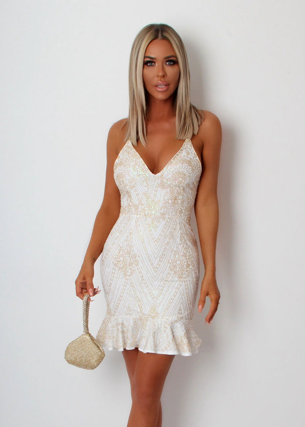 'Princess of Charm' Glitter Dress - White & Gold