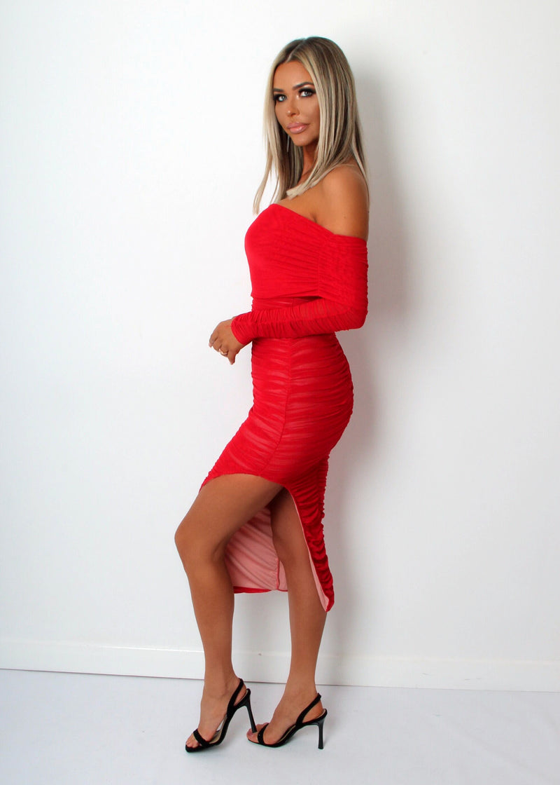 Simply Ruched One Shoulder Dress - Red