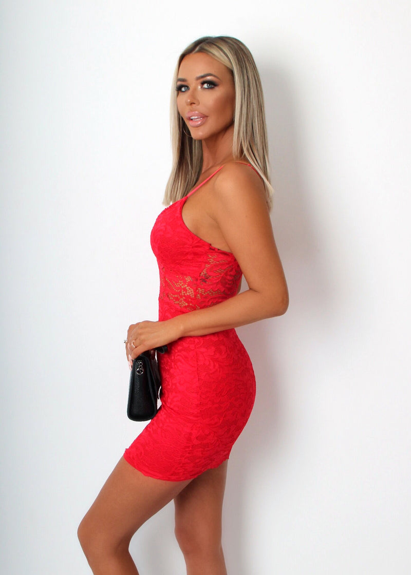 Jelena Lace Bodycon Mini Dress - Red