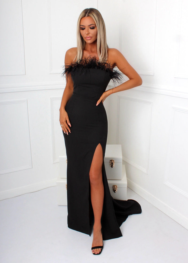 Forever Yours Feather Gown - Black