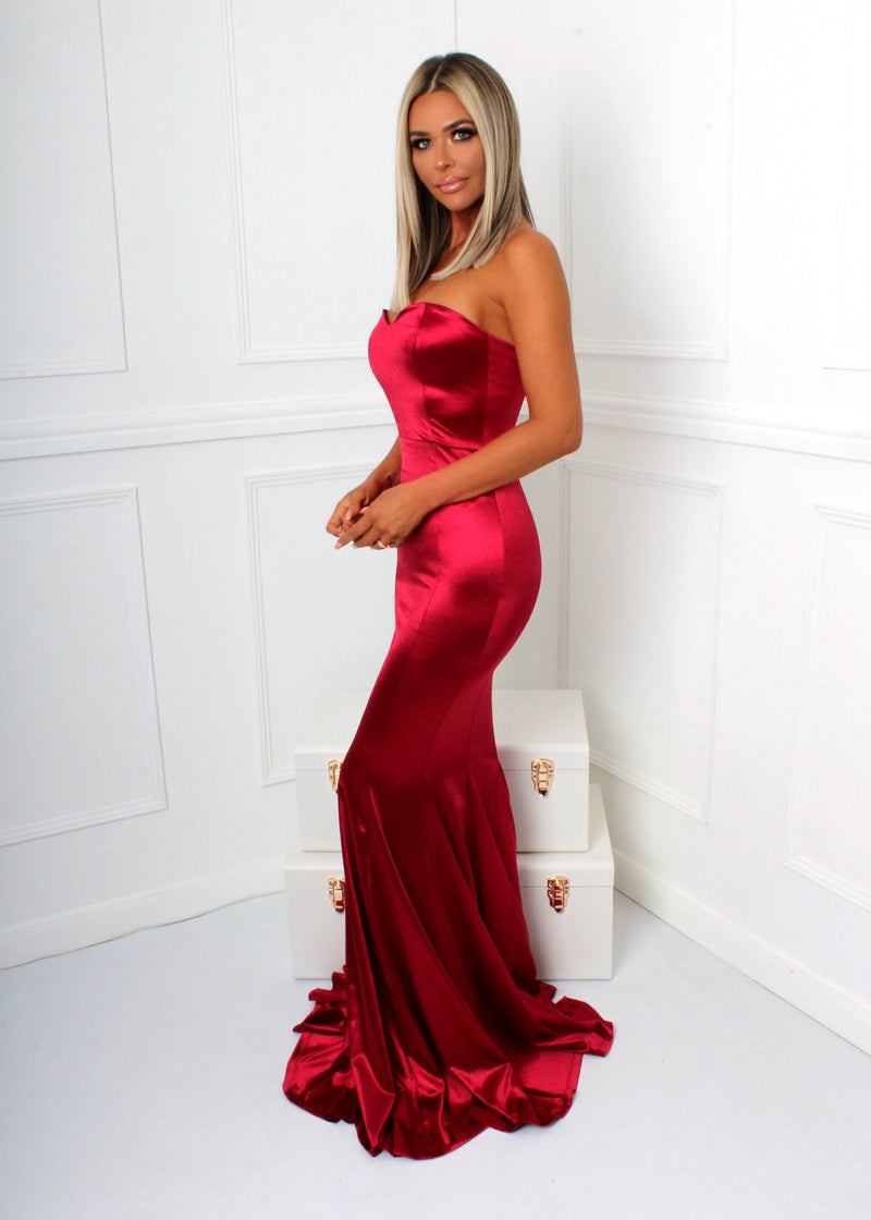 Modern Love Strapless Satin Gown - Red