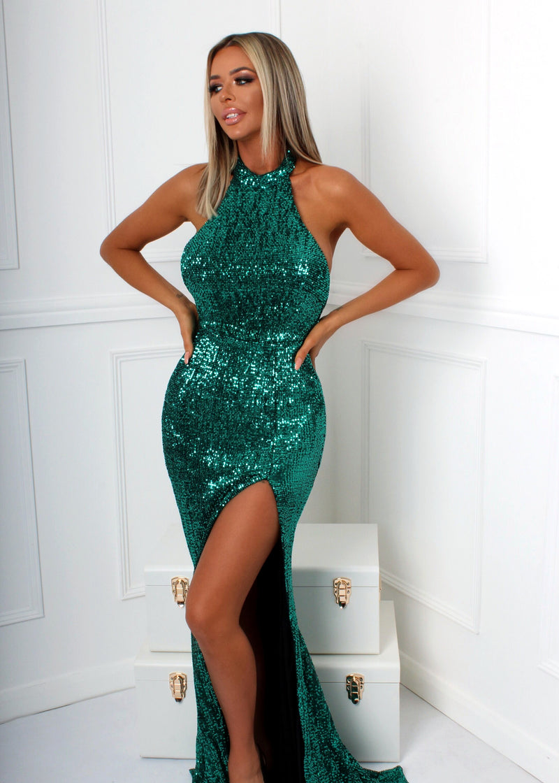 Slay The Game Gown - Emerald Green