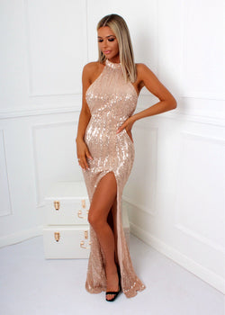 Slay The Game Gown - Rose Gold