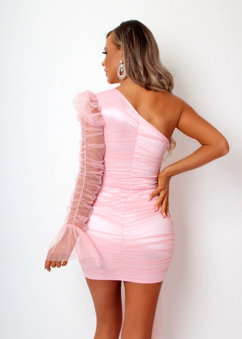 Private Party Ruched Mesh Dress - Pink