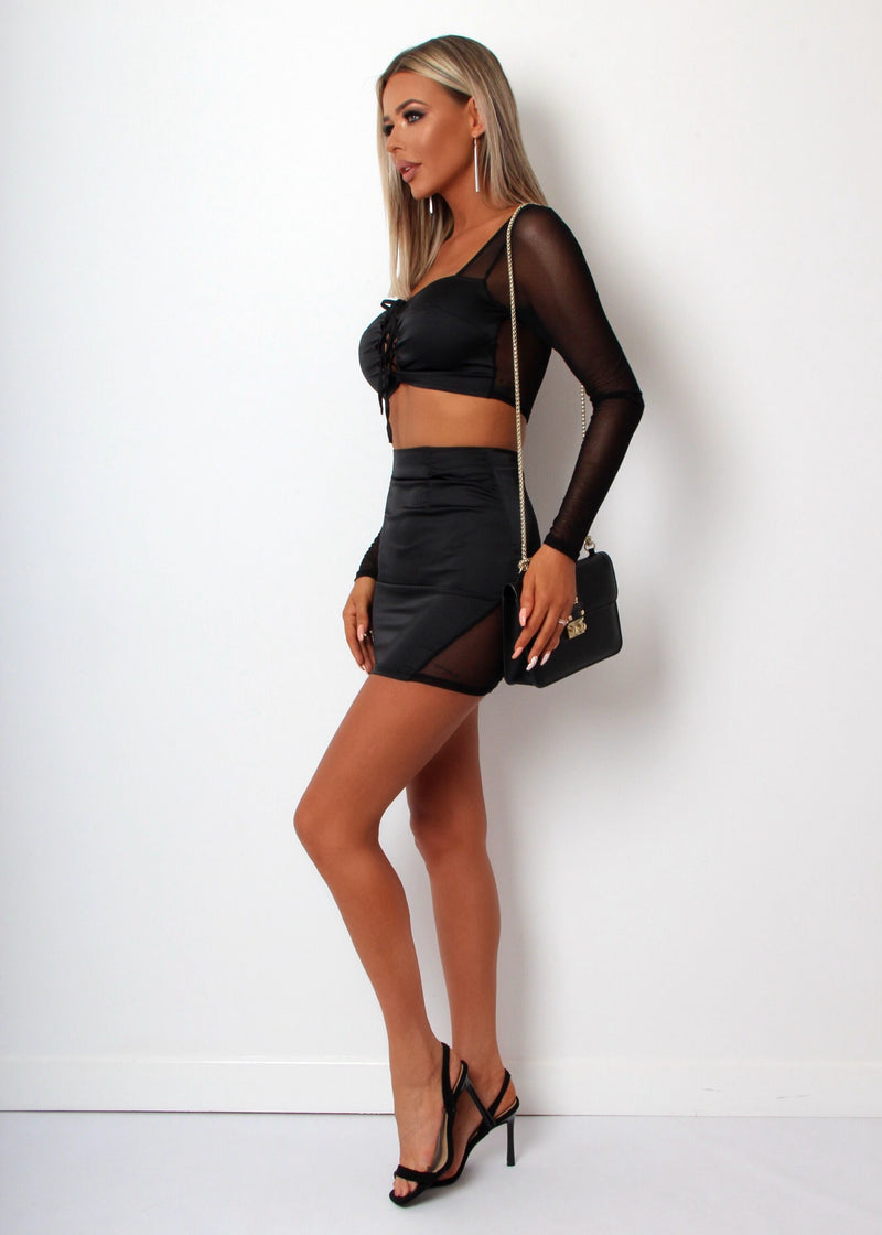 In Control Satin Mesh Two Piece - Black
