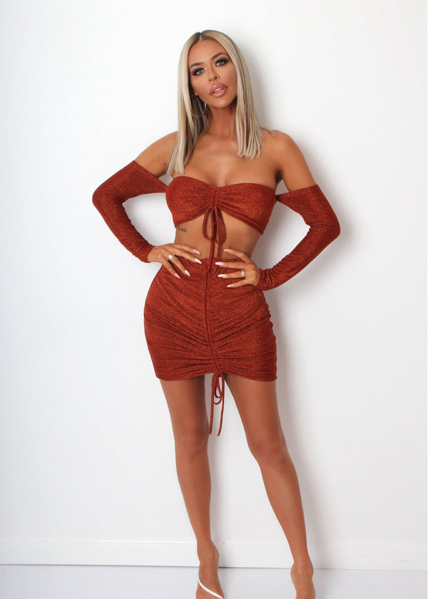 You Glow Girl Lurex Two Piece - Burnt Orange