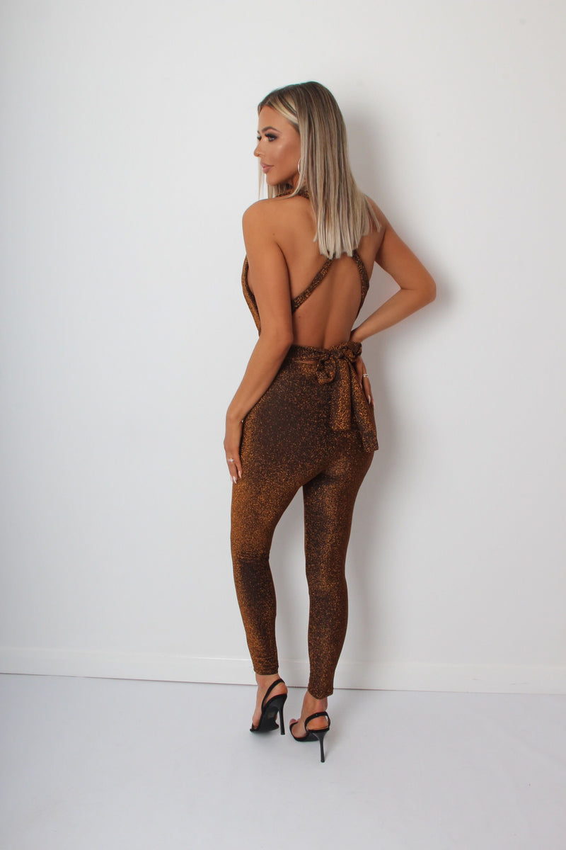 Its A Wrap Lurex Multiway Jumpsuit - Bronze