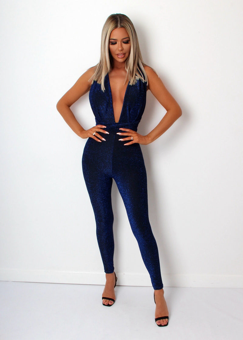Its A Wrap Lurex Multiway Jumpsuit - Blue