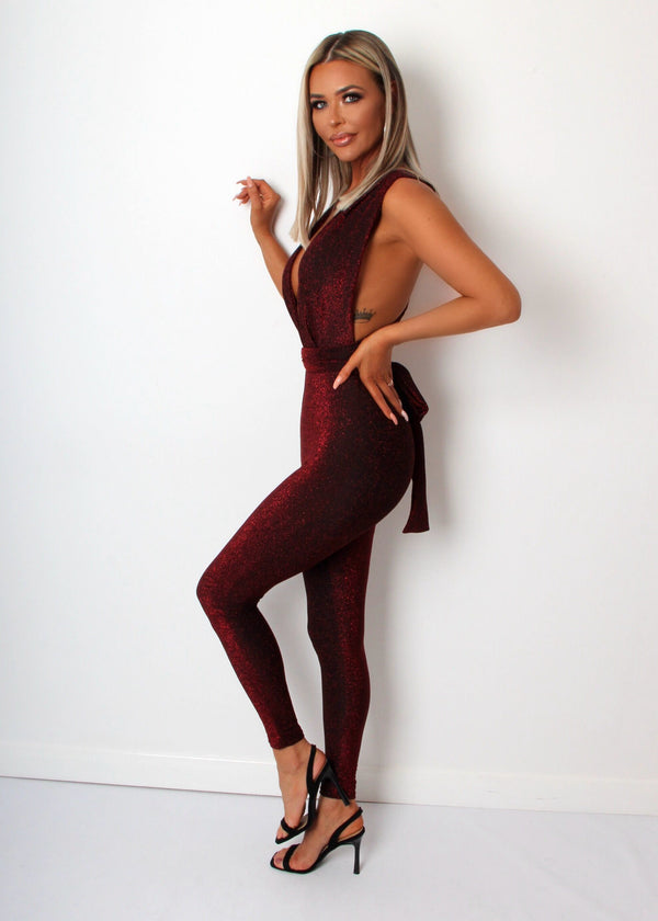 Its A Wrap Lurex Multiway Jumpsuit - Wine