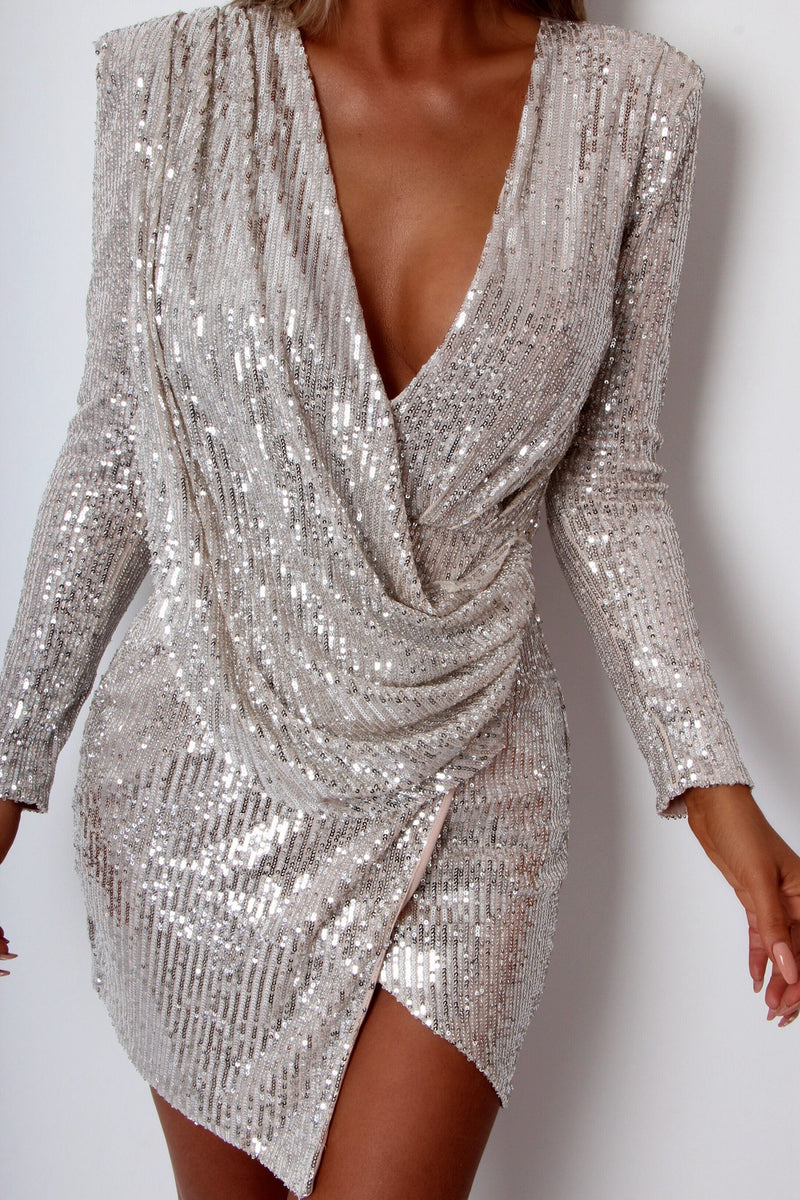 Drive You Wild Sequin Dress - Silver