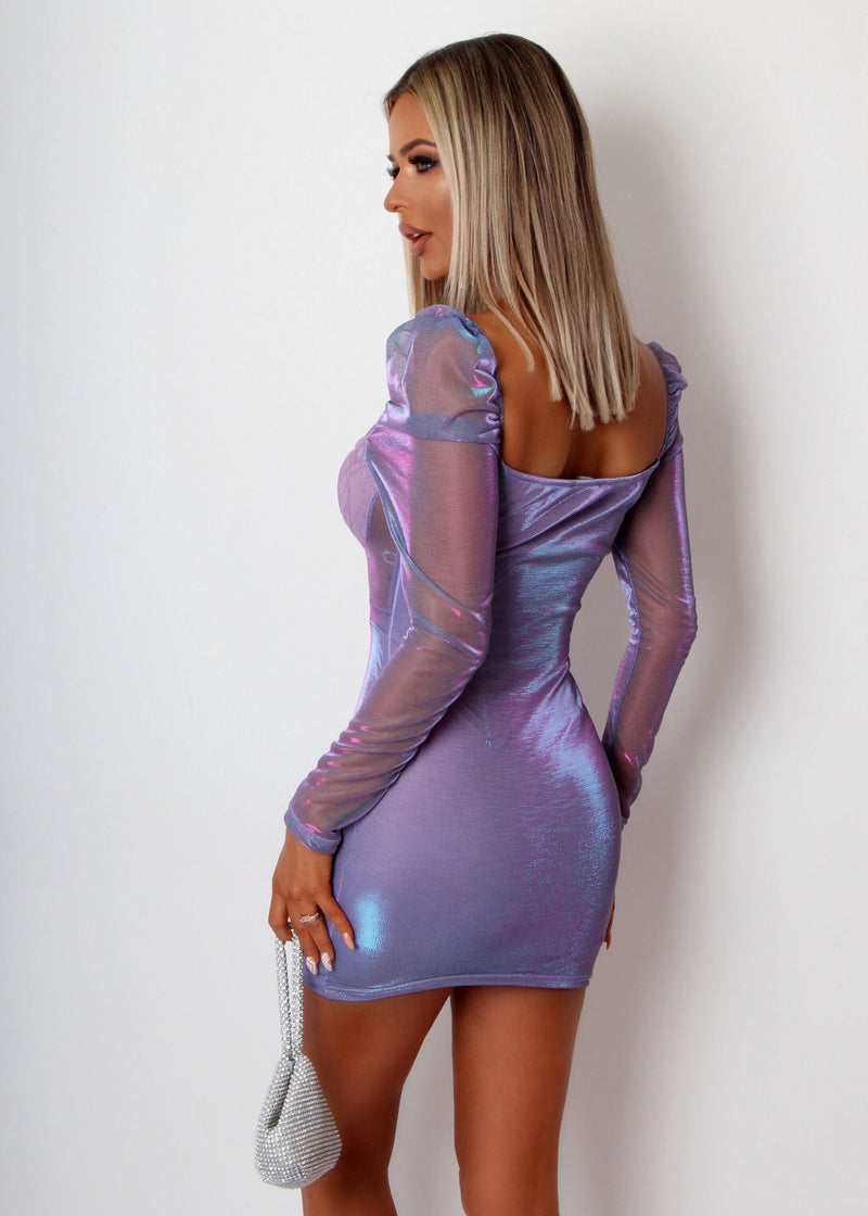 In My Dreams Sparkly Mesh Dress - Purple