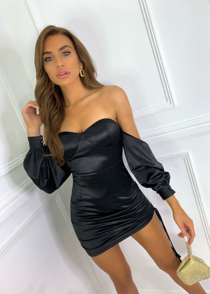 Touch Of Sass Multi-way Satin Dress - Black