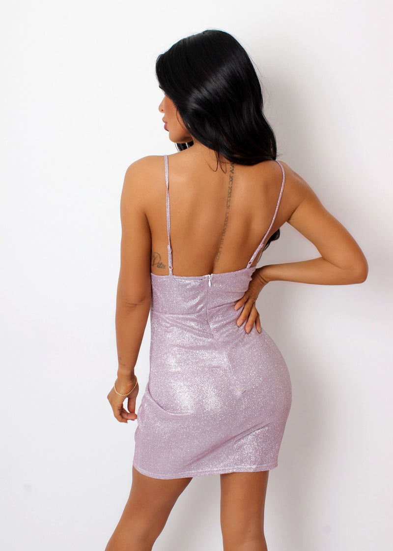 Like A Dream Sparkly Glitter Dress - Pink