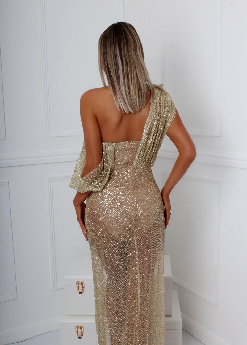 There She Glows Glitter Gown - Gold