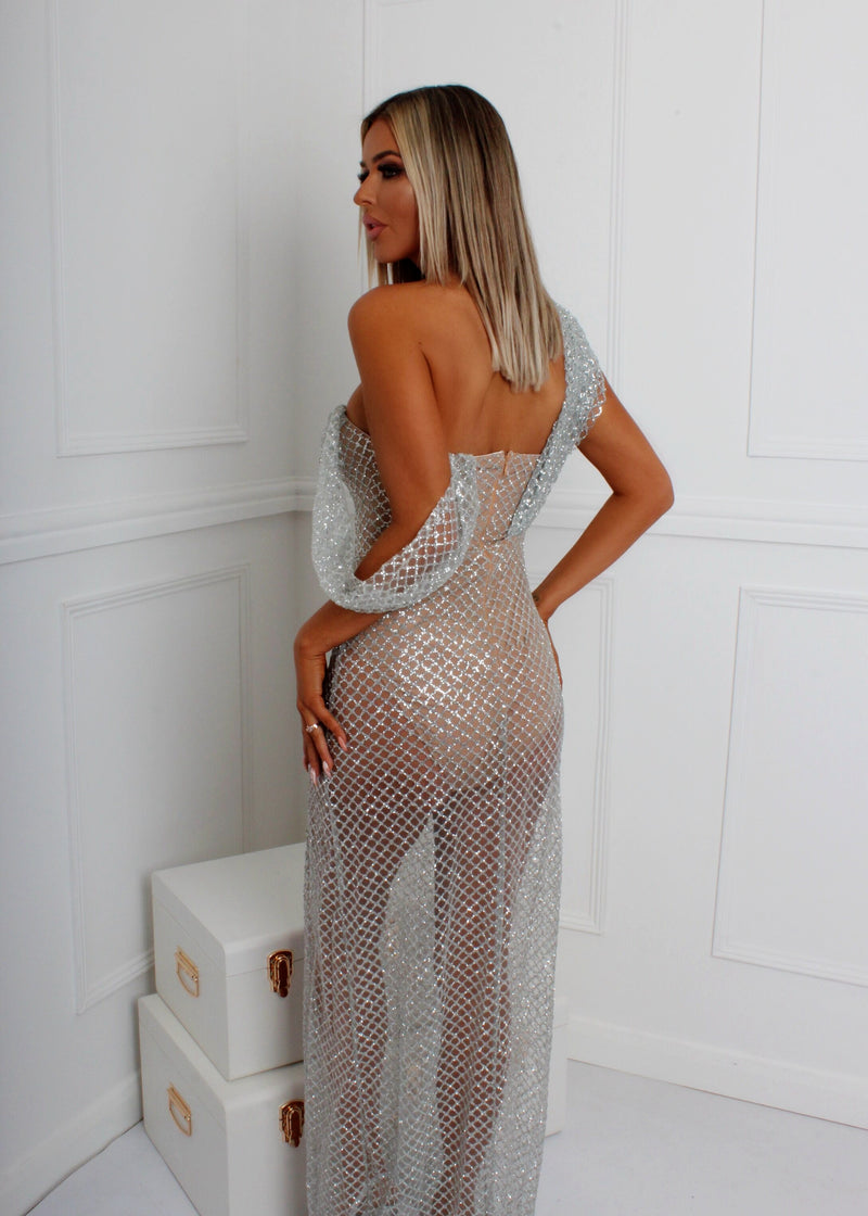 There She Glows Glitter Gown - Silver