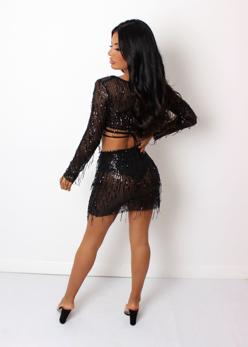 Always Glowing Sequin Tassel Two Piece - Black