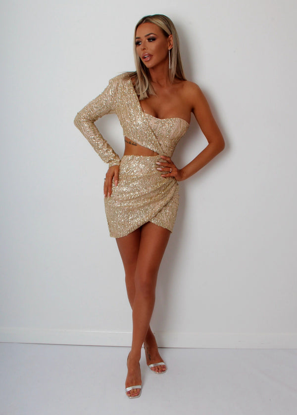 Party In LA Glitter Sequin Dress - Gold