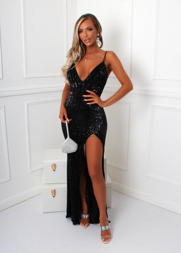 Redemption Sequin Side Slit Gown - Black