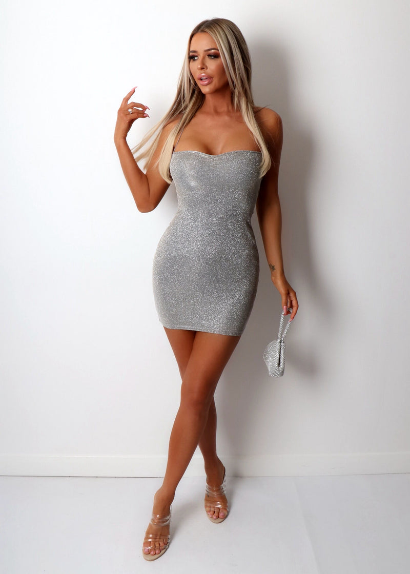 Glow Up Lurex Bodycon Dress - Silver