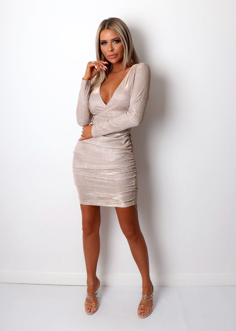 Reality Check Long Sleeve Ruched Dress - Pink Champagne