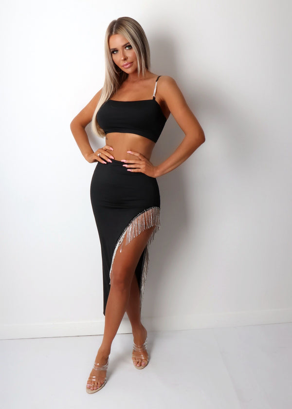 Love Me Better Diamante Trim Two Piece - Black