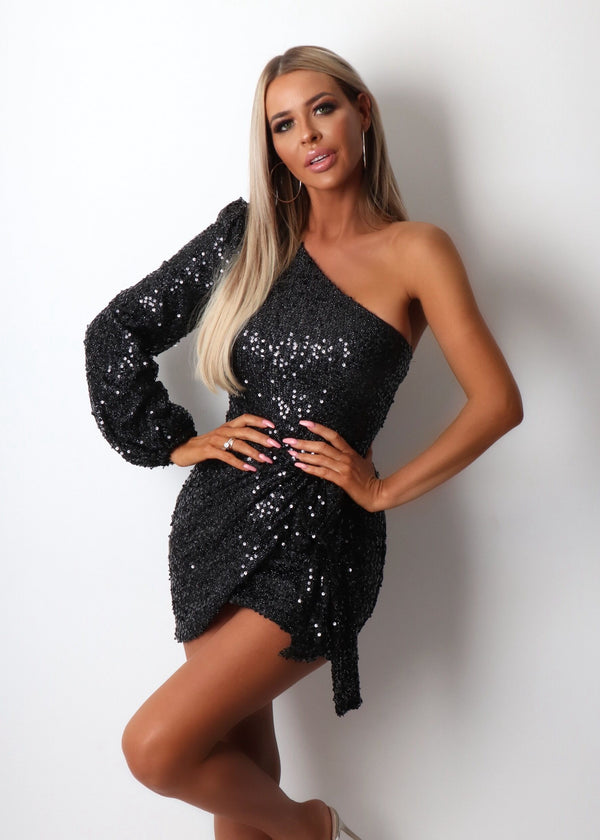 Money Maker One Shoulder Sequin Dress - Black