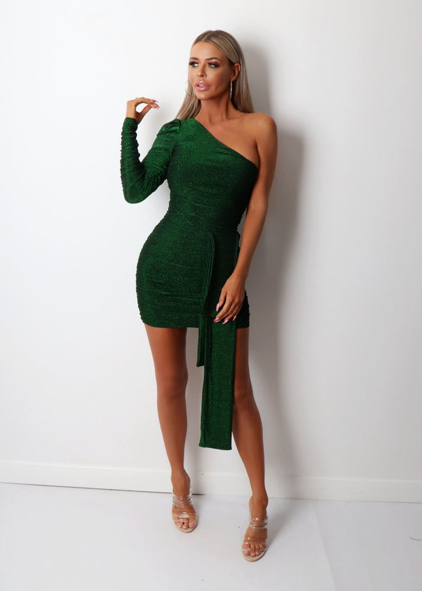Spellbound One Shoulder Lurex Dress - Green
