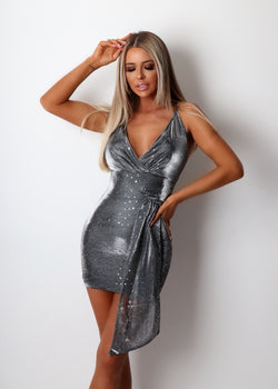 Love Lesson Sparkly Dress - Grey