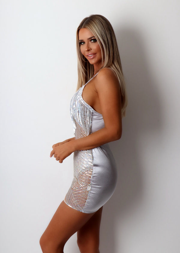 Sin City Tassel Sequin Dress - Silver