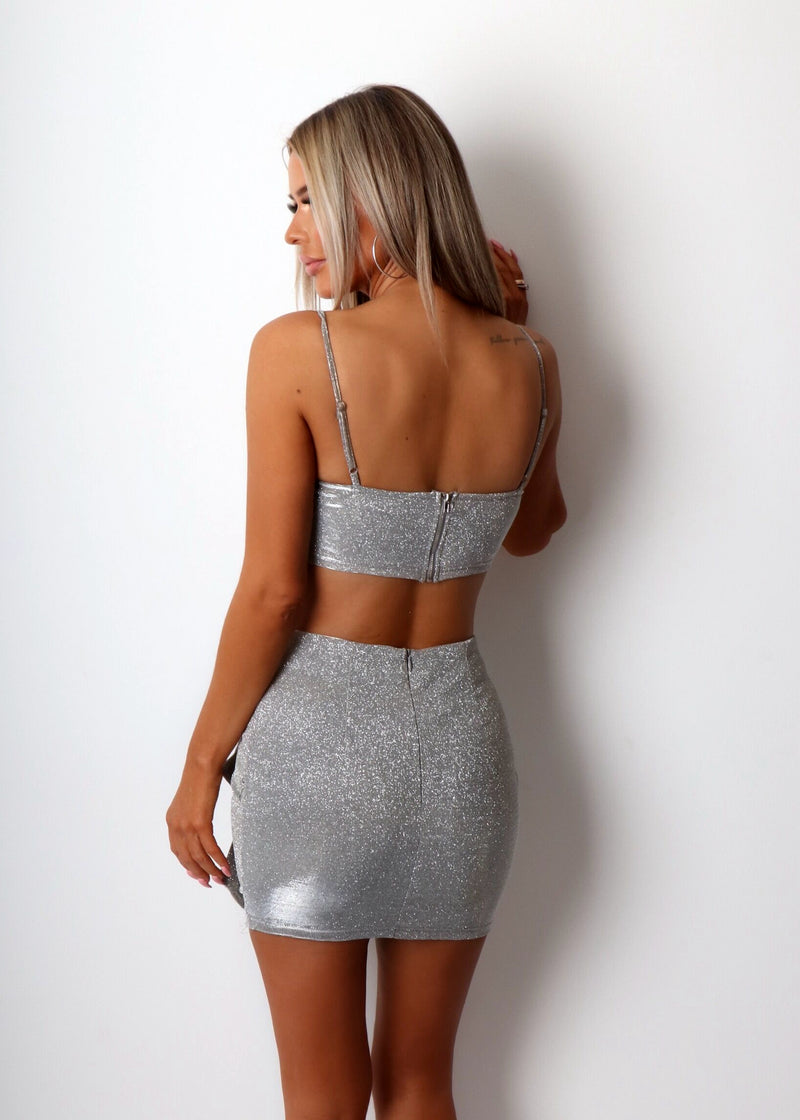 Enchant Me Sparkly Two Piece - Silver