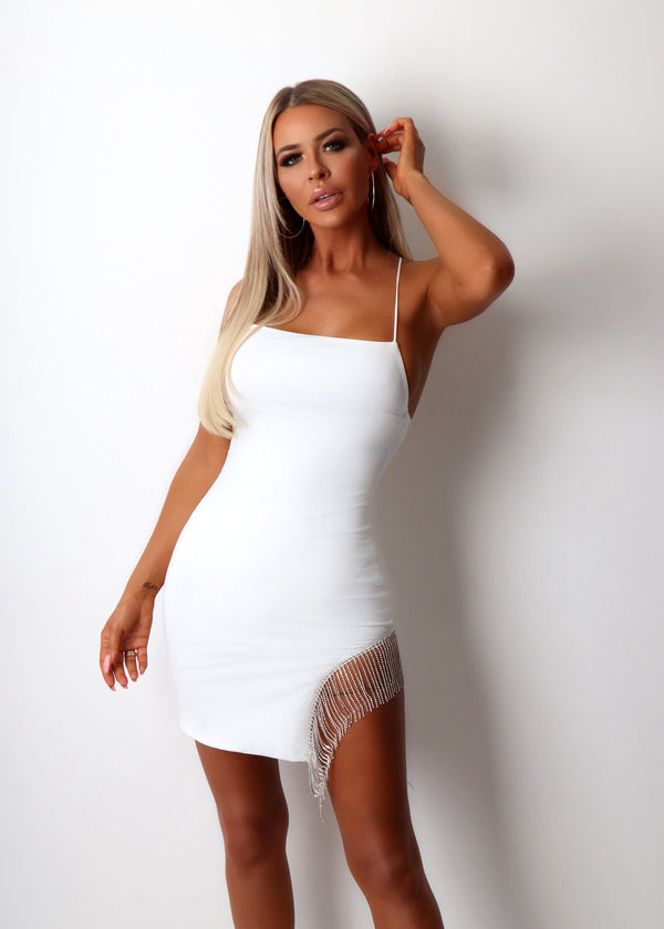 Deepest Desire Diamante Fringe Dress - White