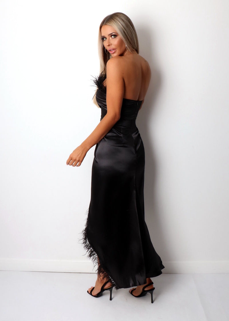 Spanish Sunsets Feather Maxi Dress - Black