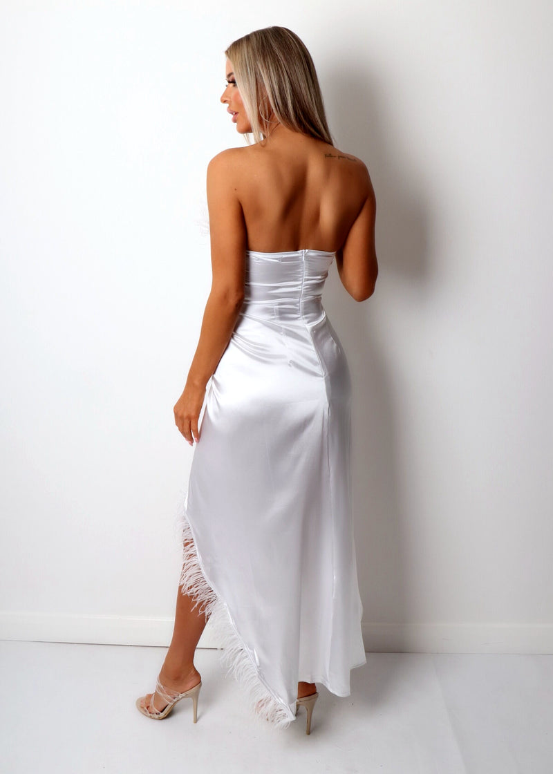 Spanish Sunsets Feather Maxi Dress - White