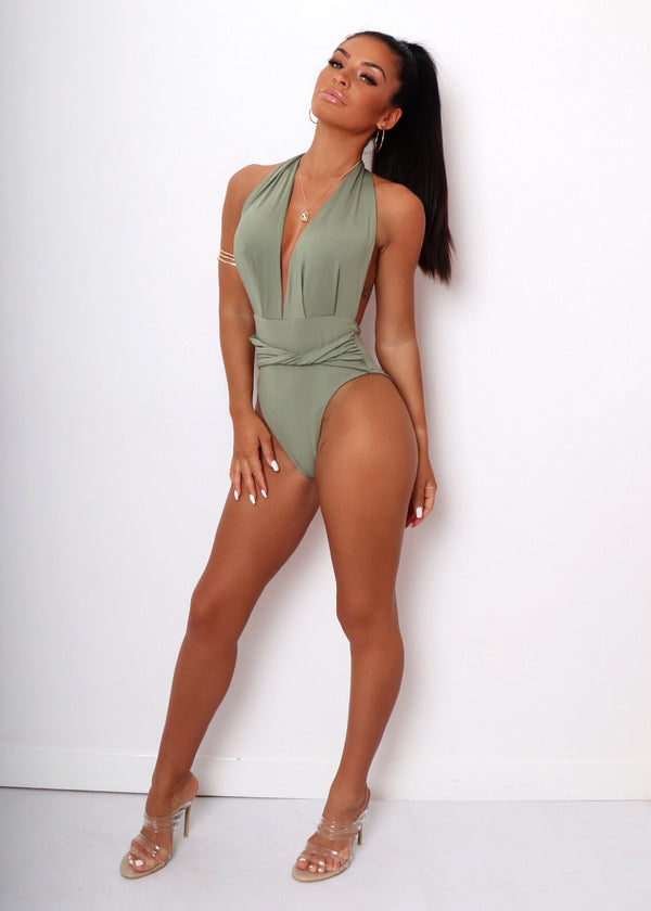Freya Front Twist Swimsuit - Khaki