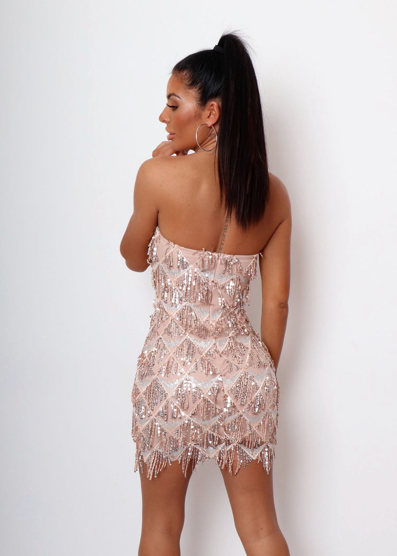 Make A Move Tassel Sequin Bustier Dress - Nude