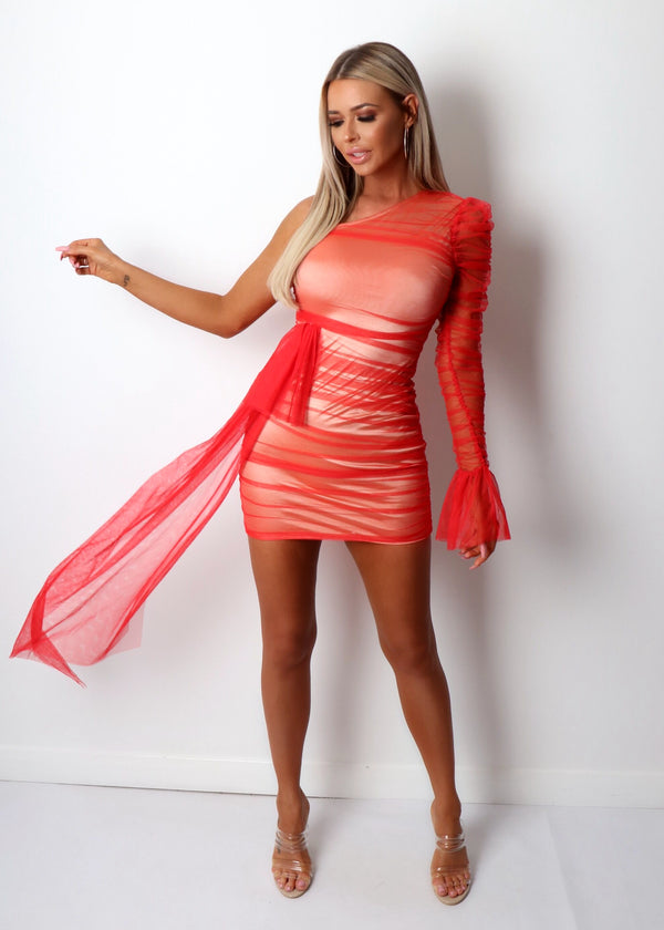 Private Party Ruched Mesh Dress - Red