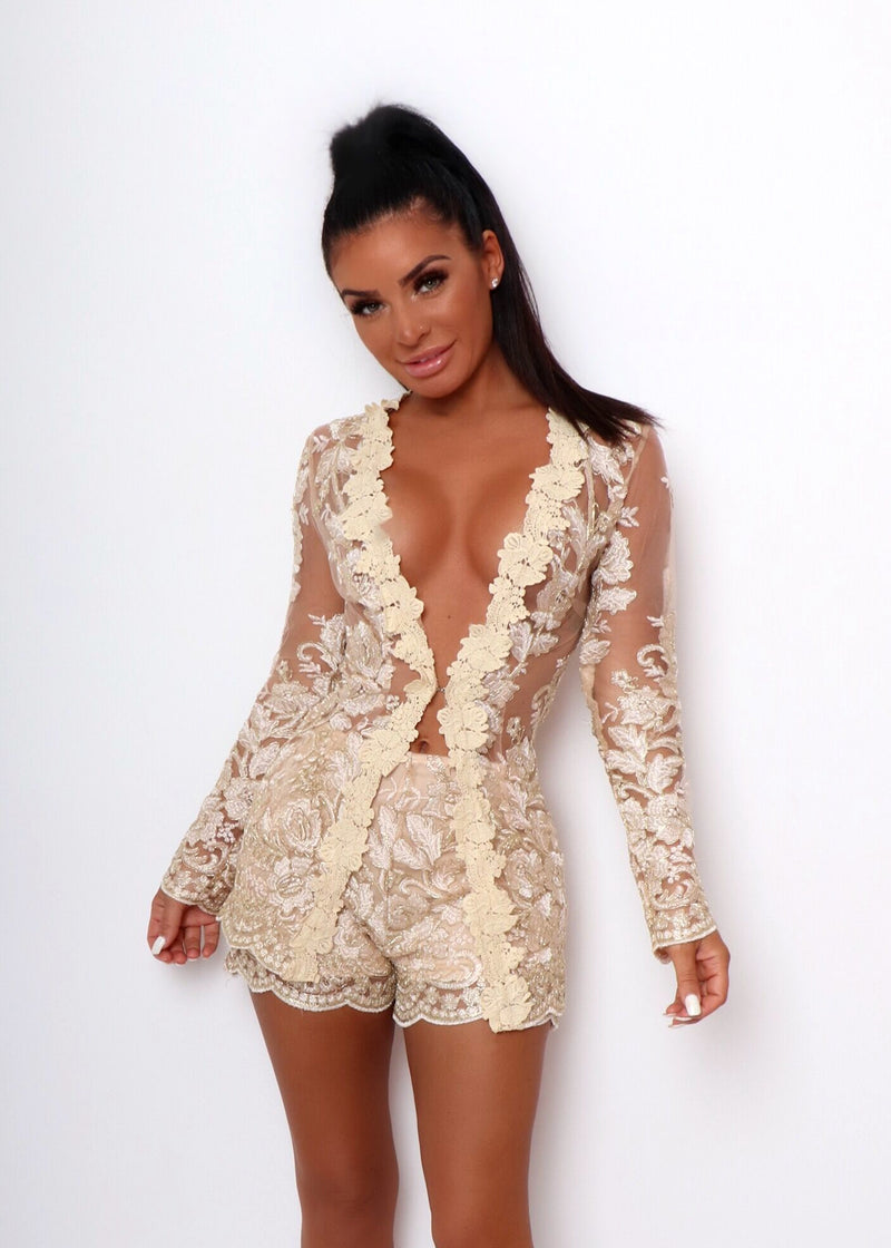 'In Full Bloom' Floral Mesh Embroidered Two Piece - Gold